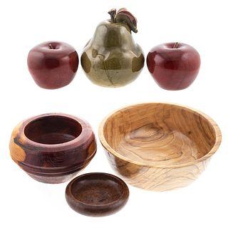 Five Wood & Ceramic Objects