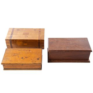 Three Assorted Antique Wooden Boxes