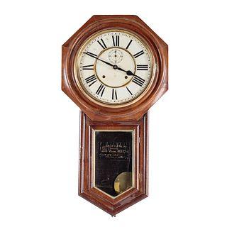 Ansonia Walnut Wall Regulator Clock