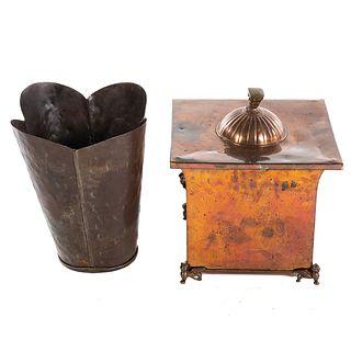 Metal Quatrefoil Trash Can & Copper Coal Scuttle