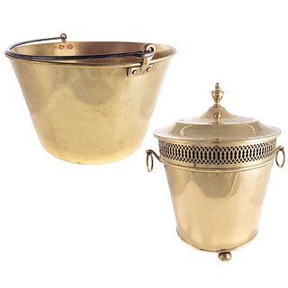 Brass Kindling Bucket & Warmer