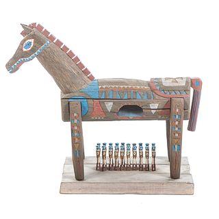 Carved & Painted Folk Art Trojan Horse