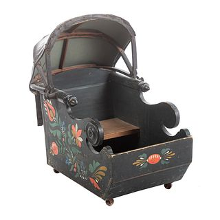 American Painted Wood Baby Carriage/Sled