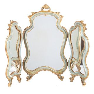 Louis XV Style Painted Wood Dressing Mirror