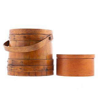Five Shaker Style Maple Boxes & Firkin