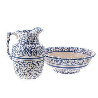 Blue Spongeware Pitcher & Wash Basin