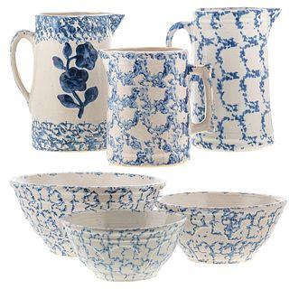 Six Pieces of Blue Spongeware