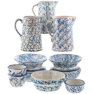 Nine Blue Spongeware Pitchers & Bowls