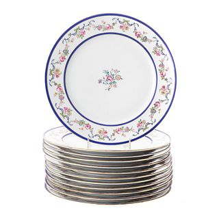 Twelve French China Floral Decorated Dinner Plates