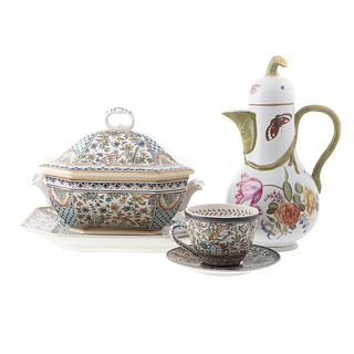 Four Portuguese Ceramic Articles & Chocolate Pot