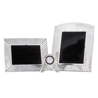 Two Waterford Crystal Frames & Desk Clock