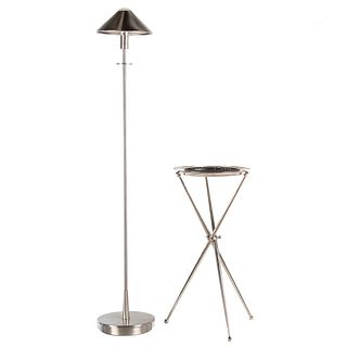 Contemporary Chrome Floor Lamp & Tray with Stand