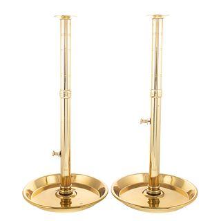 Pair English Brass Tavern Candlesticks