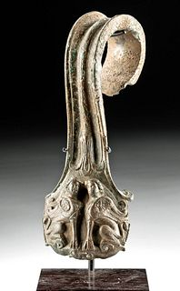Etruscan Bronze Handle Silver Inlay w/ Female Sphinxes