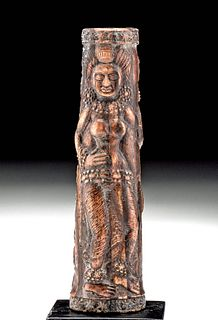 Indian Petrified Bone Mirror Handle - Dancers, Dwarf