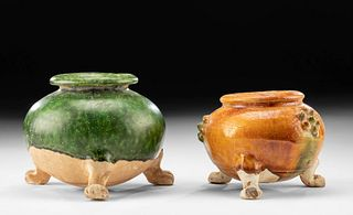 Chinese Tang Dynasty Glazed Pottery Jars (pr)