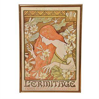 French Art Nouveau Poster, Cover Illustration for Revue Illustree 1897, Paul Berthon