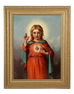 American School, (19th Century) Jesus Christ as A Baby Child, Oil PaintingC. 1860