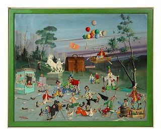 """Alfano Dardari (Italian, 1924-1988) """"Surrealist Clowns Painting"""" Oil on Canvas"""