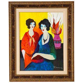 "Itzchak Tarkay (Israel, 1935-2012) ""Two Sisters"" Oil on Canvas Painting"