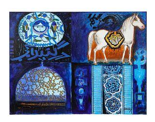 "Nasser Ovissi, 'Iranian, Born 1934' ""Four Blue Squares"" Oil on Canvas Painting"