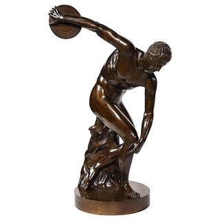 The Discobolus of Myron, Exceptional Italian Bronze Sculpture of Discus Thrower1970