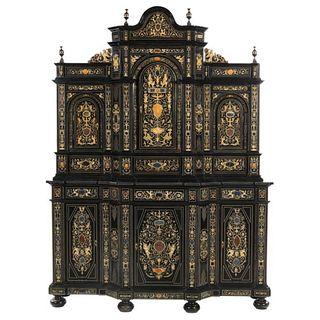 Extremely Fine Italian Baroque Ebonized Wood, Faux Ivory, and Hardstone Cabinet