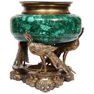 French Japonisme Phoenix Bronze and Malachite Centerpiece by G. Viot, E. Cornu