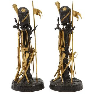 "Unusual Pair of French Ormolu and Patinated Bronze ""Military"" Candlesticks"