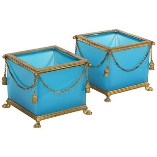Exquisite Pair of French Ormolu Mounted Turquoise Blue Opaline Glass Jardini̬res