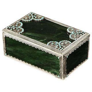 A Filigree Sterling Silver-Mounted Nephrite and Turquoise Rectangular Table Box