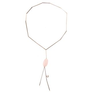 A Betty Cooke Sterling Rose Quartz Necklace