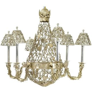 Silver Plated Buccellati Style Six-Light Marine Seashell Nautical Chandelier