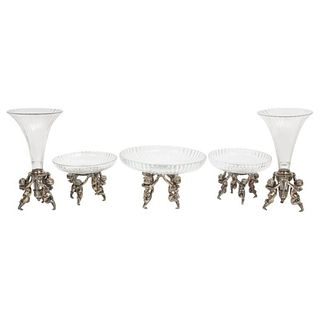 Silvered Bronze and Cut Glass Five-Piece Table Garniture Attributed to Baccarat