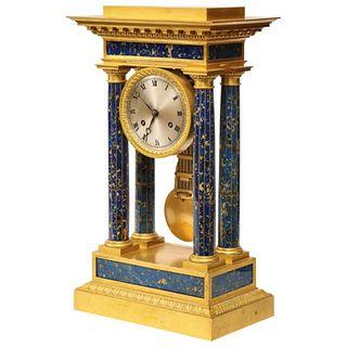 A French Empire Ormolu and Lapis Lazuli Mantle Clock, circa 1860