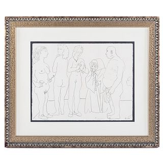 """Pablo Picasso. """"Personnages et Columbe,"""" litho"""