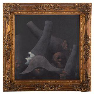 """Rafael Coronel. """"Dark Heads in Profile,"""" oil"""