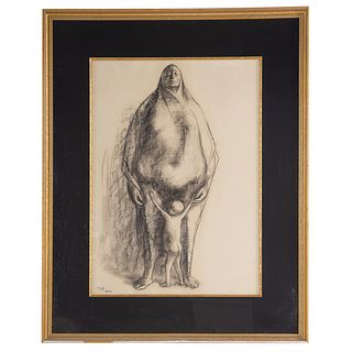 """Francisco Zuniga. """"Mother and Child,"""" charcoal"""