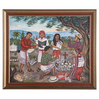 """Juan Sisay. """"A Guatemalan Funeral,"""" oil on canvas"""