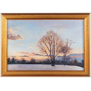 """Nathaniel K. Gibbs. """"Winter Sunset,"""" oil"""