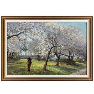"Nathaniel K. Gibbs. ""Walk Through Blossoms,"" oil"
