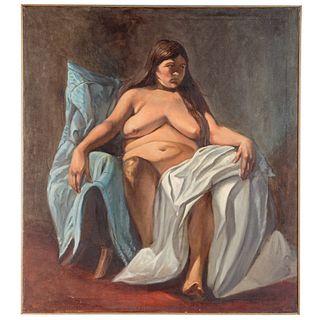 Nathaniel K. Gibbs. Seated Nude, oil
