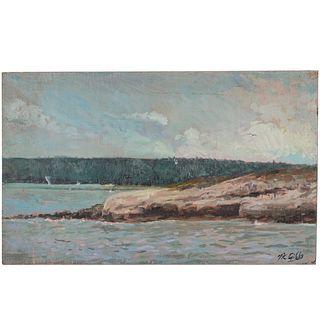 Nathaniel K. Gibbs. Rocks by the Lake, oil