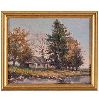 Nathaniel K. Gibbs. House Between the Trees, oil