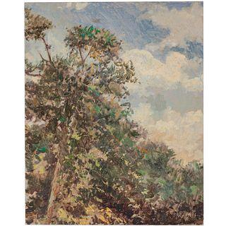 Nathaniel K. Gibbs. Treetops, oil
