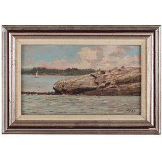 Nathaniel K. Gibbs. Outcropping with Sailboat, oil