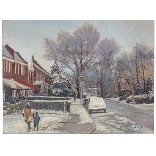 Nathaniel K. Gibbs. Row House Sled Ride, oil