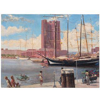 Nathaniel K. Gibbs. Baltimore Inner Harbor, oil