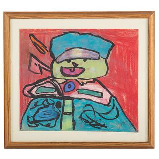 Karel Appel. Abstract Boy, mixed media