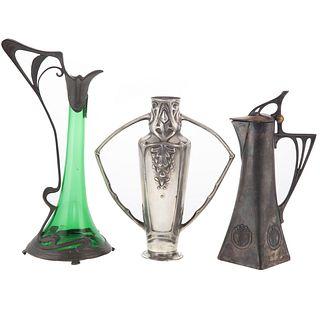 Three Art Deco & Nouveau Metalware Objects